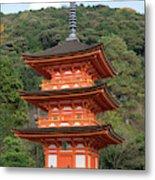 Low Angle View Of A Small Pagoda Metal Print