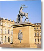 Low Angle View Of Statues In Front Of A Metal Print