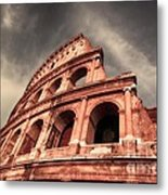 Low Angle View Of The Roman Colosseum Metal Print by Stefano Senise