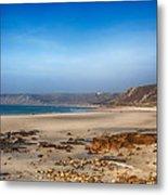 Low Tide At Sennen Cove Metal Print