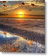 Low Tide Sunrise On Jekyll Island Metal Print