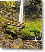 Lower Angle Of Elowah Falls In The Columbia River Gorge Of Oregon Metal Print