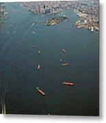 Lower Manhattan And New York Bay Metal Print