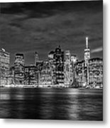 Night Skyline Of Lower Manhattan From Brooklyn Metal Print