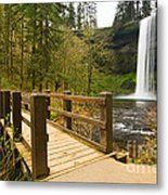 Lower South Waterfall With Footbridge In Oregon Columbia River Gorge. Metal Print