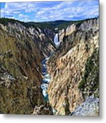 Lower Yellowstone Falls Panorama Metal Print
