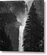 Lower Yosemite Falls Bw Metal Print