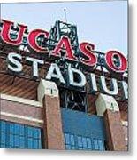 Lucas Oil Stadium Sign Metal Print by James Drake
