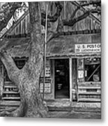 Luckenbach 2 Black And White Metal Print