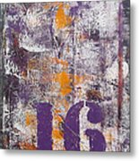 Lucky Number 16 Purple Orange Grey Abstract By Chakramoon Metal Print