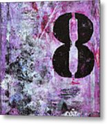 Lucky Number 8 Pink Black White Abstract By Chakramoon Metal Print