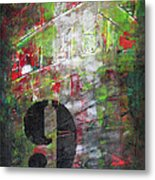 Lucky Number 9 Green Red Grey Black Abstract By Chakramoon Metal Print