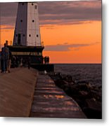 Ludington Pier And Lighthouse Metal Print