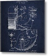 Ludwig Foot Pedal Patent Drawing From 1909 - Navy Blue Metal Print