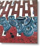 Lug Nuts On Grate Vertical Metal Print