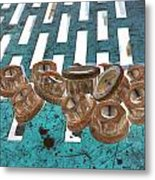 Lug Nuts On Grate Vertical Turquoise Copper Metal Print