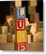 Luke - Alphabet Blocks Metal Print