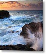 Lumahai Sea Explosion Metal Print