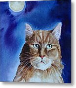 Lunar Cat Metal Print