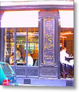 Lunch Time At The Cafe St Regis In Paris Metal Print