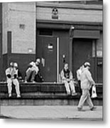Lunch Time In Black And White Metal Print