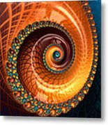 Luxe Fractal Spiral Brown And Blue Metal Print