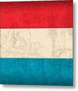 Luxembourg Flag Vintage Distressed Finish Metal Print
