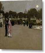 Luxembourg Gardens At Twilight Metal Print