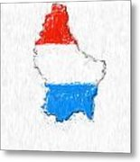 Luxembourg Painted Flag Map Metal Print