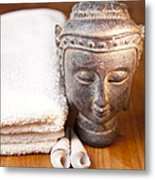 Luxury Bath Or Shower Set With Towel Budd And Shells On Wooden Table Metal Print by Gino De Graaf