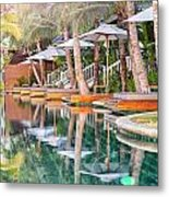 Luxury Pool With Loungers Metal Print