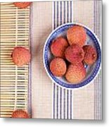 Lychess With Bamboo Mat Metal Print by Jane Rix