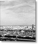 Lyon From The Basilique De Fourviere-bw Metal Print