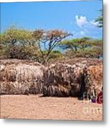 Maasai Huts In Their Village In Tanzania Metal Print
