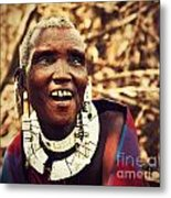 Maasai Old Woman Portrait In Tanzania Metal Print