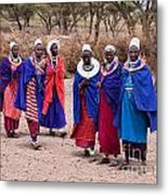 Maasai Women In Front Of Their Village In Tanzania Metal Print