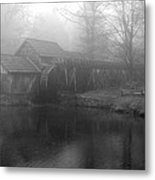 Mabry Mill In Fog Bw Metal Print