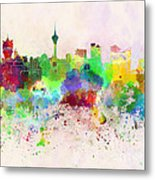 Macau Skyline In Watercolor Background Metal Print
