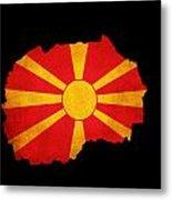 Macedonia Grunge Map Outline With Flag Metal Print