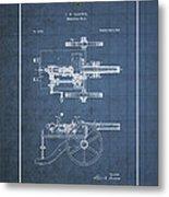 Machine Gun - Automatic Cannon By C.e. Barnes - Vintage Patent Blueprint Metal Print