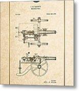 Machine Gun - Automatic Cannon By C.e. Barnes - Vintage Patent Document Metal Print