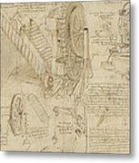 Machines To Lift Water Draw Water From Well And Bring It Into Houses From Atlantic Codex  Metal Print