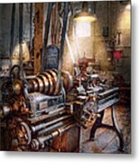 Machinist - Fire Department Lathe Metal Print by Mike Savad