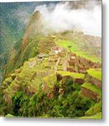 Machu Picchu Textured 2 Metal Print