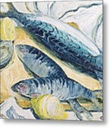 Mackerel With Oysters And Lemons, 1993 Oil On Paper Metal Print