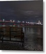 Mackinac Bridge And Bench Metal Print