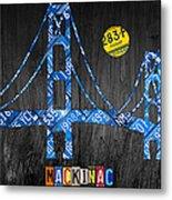 Mackinac Bridge Michigan License Plate Art Metal Print