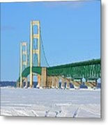 Mackinac Bridge On Ice Metal Print