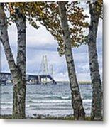 Mackinaw Bridge In Autumn By The Straits Of Mackinac Metal Print
