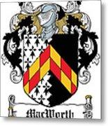 Macworth Coat Of Arms Irish Metal Print